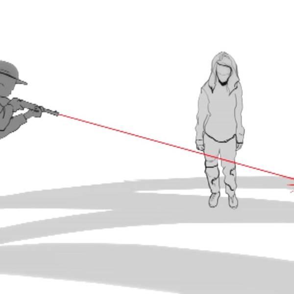 En illustration av en man som skjuter ett skott förbi en tjej.