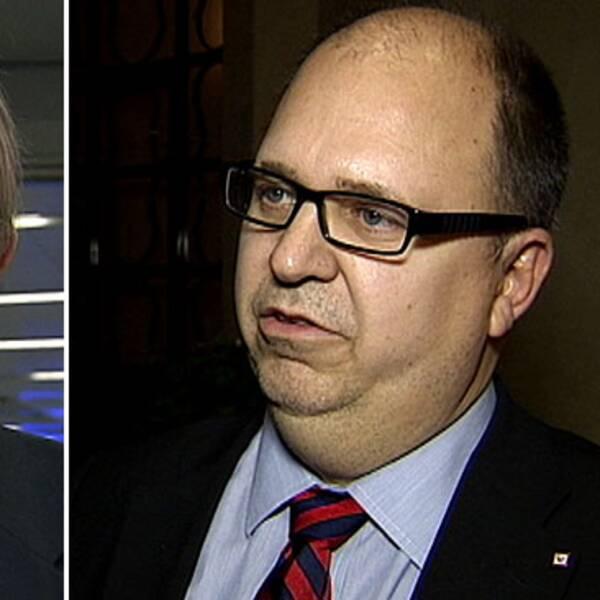 Christer Ågren, vice vd Svenskt Näringsliv, och Karl-Petter Thorwaldsson, ordförande LO. Foto: SVT