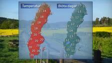 Till vänster: Dagstemperatur en normal junidag runt mitten av månaden. Till höger: Normalt antal blöta dagar (dagar med nederbörd) under en junimånad. Referensår: 1961-1990.