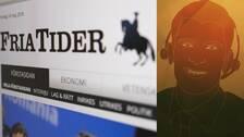 Foto av Fria tiders hemsida. Grafik med en man med headset.