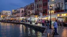 Hamnen i staden Chania på Kreta.
