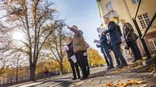 Mark- och miljööverdomstolen lyssnar på trädexperten Harald Kratschmer under syn i Gävle.
