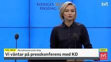 Ebba Busch Thor håller presskonferens efter sitt möte med talmannen
