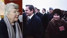 Olof Palme och Lisbet Palme på Arlanda i samband med ett pakistanskt besök i Sverige 1976.
