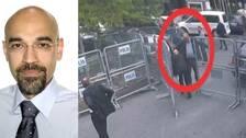 Rouzbeh Parsi beskriver Saudiarabiens agerande som desperat. Den andra bilden visar Khashoggi på väg in till konsulatet i Istanbul.