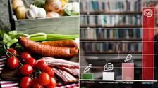Kött och grönsaker samt ett stapeldiagram över olika livsmedels klimatpåverkan