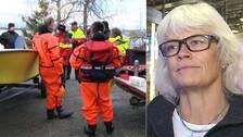 räddningspersonal vid en båt på land, och närbild på en medelålders kvinna