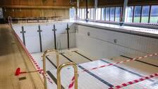 Tömd bassäng i simhallen i Arbrå.