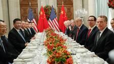 Kinas president Xi Jinping och USA:s president Donald Trump inför middagsmötet i Argentina.