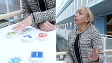Träpuckar med partiernas symboler och Elisabeth Marmorstein