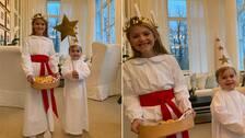 Prinsessan Estelle och prins Oscar i luciakläder