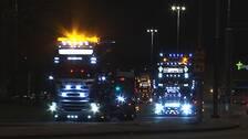 lastbil, trafik, julkonvoj, julhälsning, vinter, lucia, jul