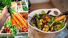 Grönsaker i butik och en bönsallad