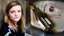 Isabelle Benfalk, 23, förbundsordförande för Ungdomens nykterhetsförbund samt en urdrucken vinflaska och vinglas som ligger i diskho