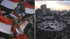 En bild på en man som jublar bland egyptiska flaggor i folkmassan samt en bild över Tahrirtorget.