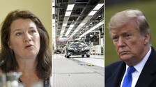Ann Linde, en bil i en fabrik och Donald Trump