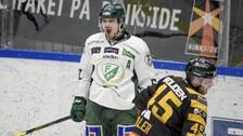 Färjestads Linus Johansson visar sin glädje efter 1–0-målet.