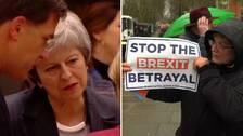 Theresa May och en Brexitsupporter