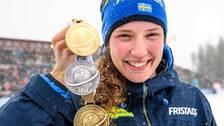 Hanna Öberg med guld, silver och brons i Östersund.