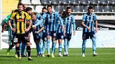 Djurgårdens Erik Berg jublar efter 1–0.
