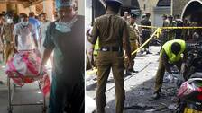 Sjukvårdspersonal och polis på plats vid Zion church i Batticaloa i Sri Lanka