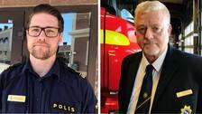 Tommy Jansson, räddningschef i Sala, står framför en brandbil. Tommy Alriksson, operativ samordnare på polisen i Sala, står framför polisstationen i uniform. I klippet berättar de varför de tror på idén om ett blåljushus.