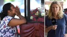 En kvinna som ber och en annan bild på SVT:s Asien-korrespondent Ulrika Bergsten.