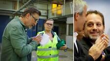 Janne Josefsson ringer upp Findus amerikanske ägare Noam Gottesman från den nedlagda fabriken i Bjuv. Bild på Janne i fabriken och bild på Noam Gottesman.