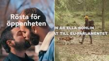 Bilder ur partiernas reklamkampanjer: Två personer som kysser varandra och en kvinna i jaktutrustning.