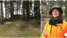 Frida Palmbo, arkeolog vid Norrbottens museum är med och undersöker högarna.