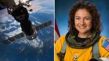 En bild på internationella rymdstationen ISS och jorden, sett från rymden, och en bild på svenska astronauten Jessica Meir.