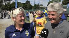 Sveriges tidigare förbundskaptener Lilie Persson och Pia Sundhage.
