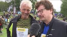Kommunalråden Reidar Svedahl och Lars Stjernkvist blir intervjuade på tävlingsområdet.