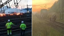 Branden i Hässleholm och tågpassagerare som evakuerar ett tåg.