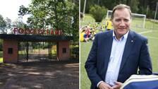 Montage. Ingång till Folkets Park. Statsminister Stefan Löfven.