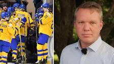Ishockeyförbundets ordförande Anders Larsson (t.h.) berättar att ett möte med spelarfacket är inbokat senare i veckan.