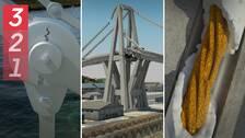 Tre animerade bilder på orsaker till att broar har rasat: en metalllänk på en hänbro spricker, en bro som kollapsar och rostiga kablar.
