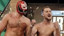Tyson Fury och Otto Wallin på invägningen i Las Vegas.