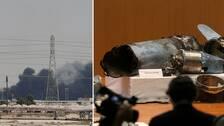 Under en presskonferens i Saudiarabiens huvudstad Riyad visades mer eller mindre förvridna vapendelar upp, bland annat från kryssningsrobotar, som sägs ha använts vid attackerna och som ska bevisa den iranska aggressionen.
