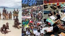Barn på Salomonöarna, i Brisbane, Australien och i Thailand deltar i den globala klimatstrejken
