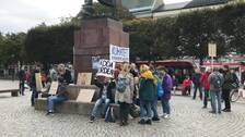 Klimatstrejk på torget.
