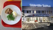Tallrik med mat och Södertälje sjukhus