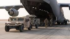 Arkivbild: Amerikansk militär materiel lastas av på flygbasen Prins Sultan i Saudiarabien den 29 juni 2019.