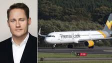 Fredrik Henriksson, presschef på Ving vars ägare, Thomas Cook, riskerar att gå i konkurs. I bilden bredvid ett flygplan som körs av flygbolaget Thomas Cook som står på landningsbana.