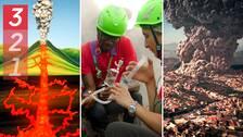 Tre bilder. Den första är en tecknad bild som visar hur lava stiger upp ur marken och skapar ett vulkanutbrott. Den andra bilden visar två forskare med mätutrustning inne i vulkankratern. Tre tredje bilden illustrerar hur ett vulkanutbrott skulle kunna se ut i staden Neapel.