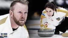 Sveriges lag vid EM i Helsingborg, lag Niklas Edin och lag Anna Hasselborg.