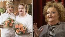 Gugge och Birgitta, Marianne Mörck och Lill-Babs karaktärer i Bonusfamiljen, på sitt bröllop och Marianne Mörck i Min sanning.