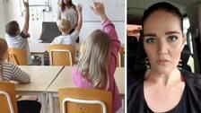 elever i klassrum intill porträttbild av Michaela Almhav