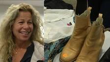 Bild på Marte Myrstad Svedjesten och bild på ett par skor