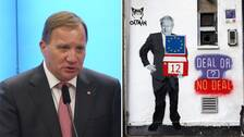 Statsminister Stefan Löfven, klotter av premiärminister Boris Johnson.